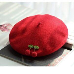 Béret cerise rouge Béret en laine Béret enfant Béret femme Béret filles Béret rouge