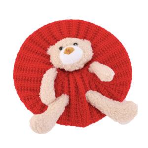 Béret au crochet ourson enfant rouge Béret au crochet Béret en synthetique Béret enfant Béret filles Béret garçons