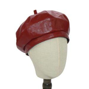 Béret mi-saison en cuir rouge Béret en cuir Béret femme Béret par couleur Béret par matière Béret rouge