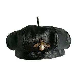 Béret abeille vintage Béret en cuir Béret femme Béret noir