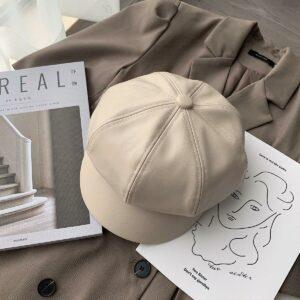 Béret casquette Hip-Hop en cuir pour femme Béret en cuir Béret femme Casquette béret