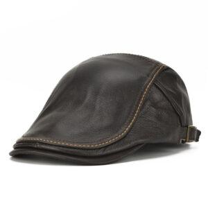 NORTHWOOD – bérets en cuir véritable pour homme, casquette d'hiver chaude, de haute qualité, plate, à bord en os Béret en cuir Béret homme Casquette béret