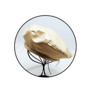 Béret chaud vintage en cuir beige Béret en cuir Béret femme