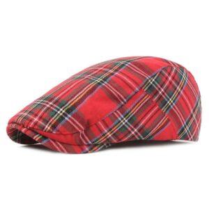 Béret irlandais lignes et carreaux en coton rouge Béret en coton Béret femme Béret homme Béret irlandais