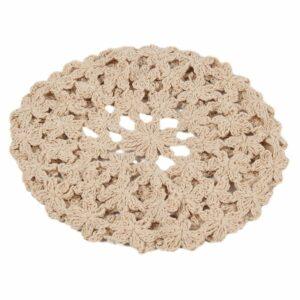 Béret au crochet tissage floral