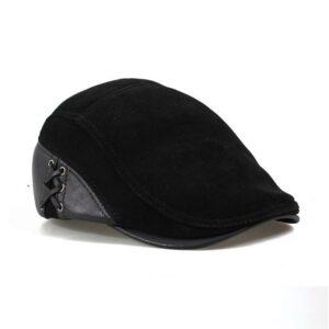 Casquette béret en cuir véritable noir Béret en cuir Béret homme Béret noir Casquette béret