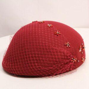 Béret fleuri rouge Béret en laine Béret femme