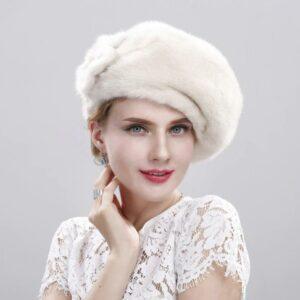 Béret en fourrure blanc Béret blanc Béret femme