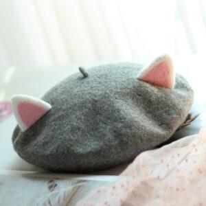 Béret beige en forme de chat mignon Béret en laine Béret enfant Béret filles