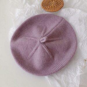 Béret tricoté vintage rose pour filles Béret en synthetique Béret enfant Béret filles