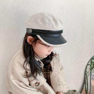 Casquette béret style militaire rétro coton beige Béret en coton Béret enfant Béret filles Béret garçons Casquette béret