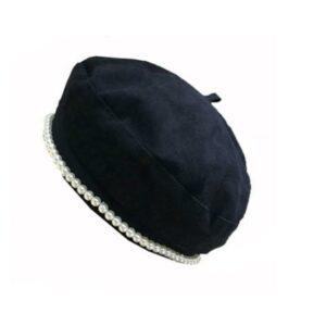 Béret en coton avec ornement en perles Béret en coton Béret femme Béret noir