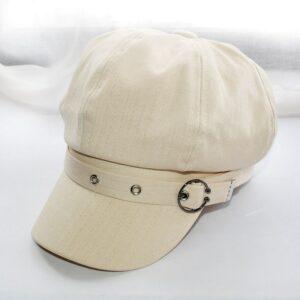 Béret casquette noire en coton avec boucle en métal Béret en coton Béret femme Béret noir Casquette béret