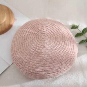 Béret en coton tricoté rose Béret en coton Béret femme