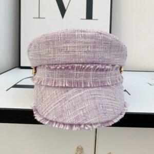 Béret casquette tweed rose