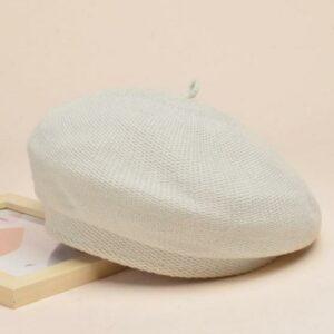 Béret en coton blanc pour l'hiver Béret en coton Béret femme