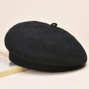 Béret en coton noir pour l'hiver Béret en coton Béret femme